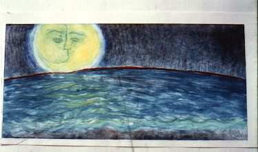 Photo: Dream Tides, the moon's dream - color relief etching 1991