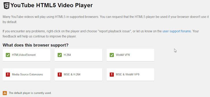 Cyberfox HTML 5 video player support, default