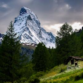 Matterhorn Storm by Steve Rogers - Landscapes Mountains & Hills ( mountain, cervino, hut, switzerland, snow covered, cabin, matterhorn, hike, slate, cervin )