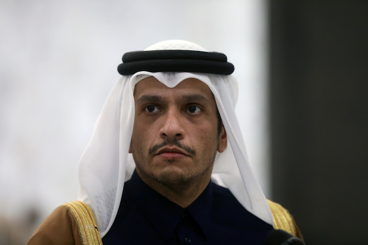 Qatari foreign minister Sheikh Mohammed bin Abdulrahman Al-Thani, is pictured at the presidential palace in Baabda, Lebanon February 9, 2021.