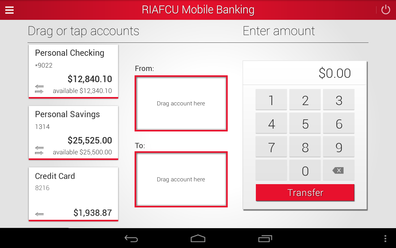 RIAFCU Mobile Banking- screenshot