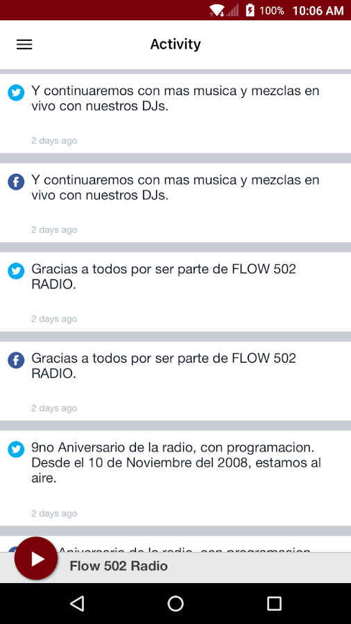 Flow 502 Radio: captura de pantalla