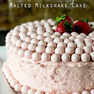 Strawberry Malted Milkshake Cake