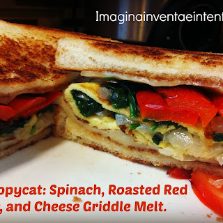 Spinach, Roasted Red Pepper, and Cheese Griddle Melt