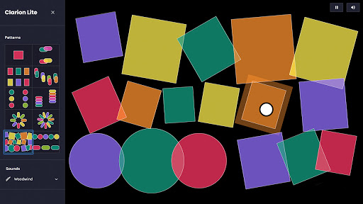 Screen capture of the Clarion interface. The lefthand menu displays an array of colorful preset object and in the main play area contains many circles and squares.