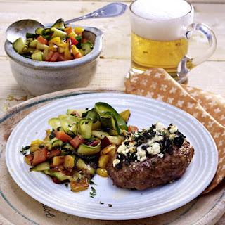 Lamb Burgers with Olives, Zucchini and Peppers.