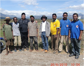 Photo: Militant SRI farmers in Timor Leste on left, with Prof. Iswandi Anas (third from left), government extension personnel and GTZ staff during field visit. [Photo Courtesy of Iswandi Anas]
