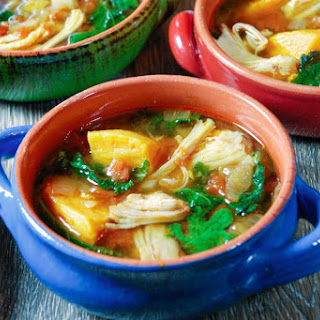 Instant Pot Chicken, Sweet Potato and Kale Soup.