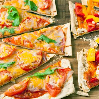 Grilled Flatbread with Basil Puree and Garden Vegetables