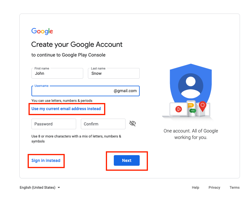 Google Account Sign Up 1