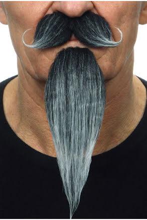 Mustasch med skägg musketör, grå