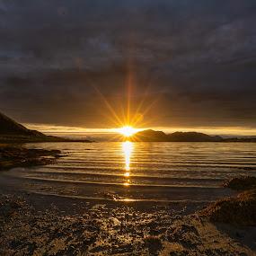Sunset seashore by Benny Høynes - Landscapes Sunsets & Sunrises ( travel photography, landscape photography, sunshine, seashore, sunset, norway, canon )