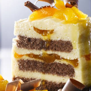 Chocolate and Apricot Mousse Cake.