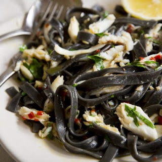 Squid Ink Fettuccine with Crab and Chilli Recipe