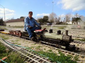 Photo: Tom Stamey, stopped to check tender water level.    HALS Chili Fest Meet 2014-0228 RPW