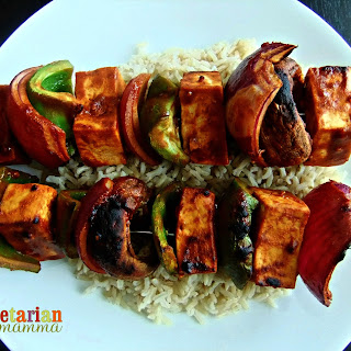 BBQ No Nut Sauce Tofu Skewers + EZ Tofu Press Giveaway.