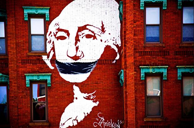 Gagged George Washington art by activist organization, DC Vote.