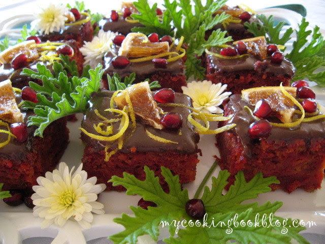 Сладкиш с червено цвекло, портокал и шоколадов ганаш с индрише