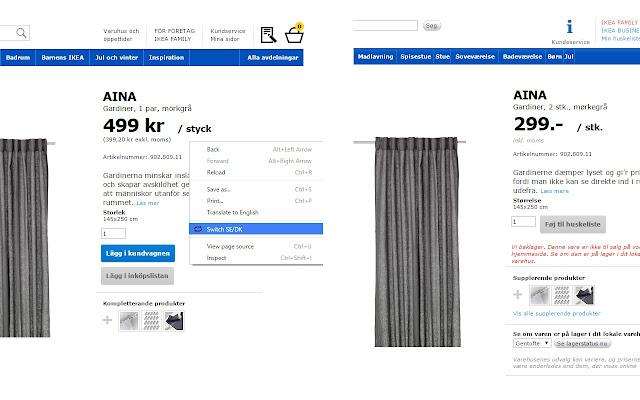 SE/DK IKEA Site Switch