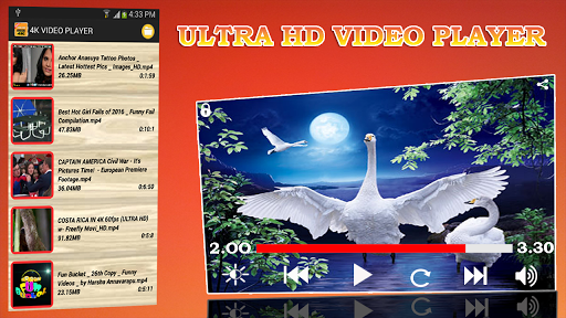 MP4 FLV UHD:4k video Player