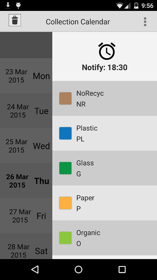 Collection calendar LITE - screenshot