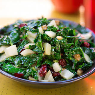 Festive Kale with Fennel, Cranberries, and Walnuts.