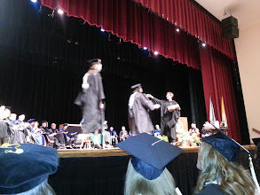 Photo: Krista hugs it out with her Art Department awardees