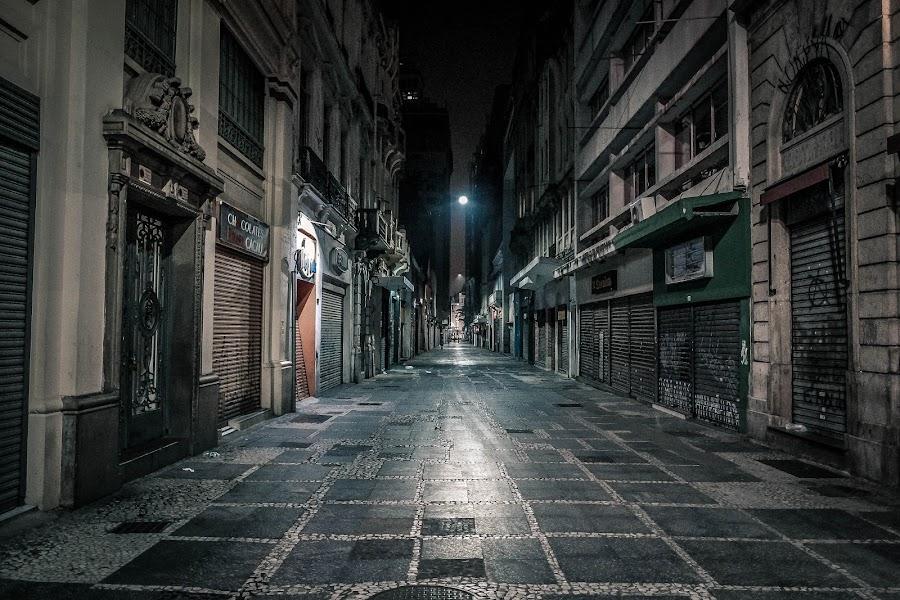 Sao Bento Street by João Moldenhauer - City,  Street & Park  Night ( street, night, architecture, saopaulo, historic )