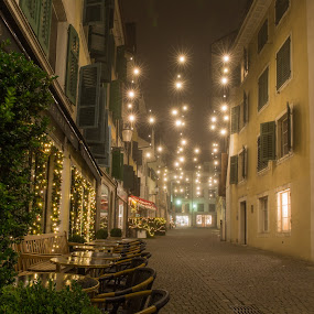 Foggy Streets of Solothurn on StStephens Night by Augustin Anic - Public Holidays Christmas ( baroque, foggy, solothurn, switzerland, street scene )