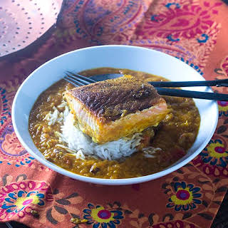 Indian Spiced Salmon in a Curry Sauce.