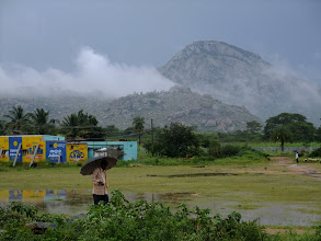 Photo: The destination of the field trip was the Nandi Hills, granite mounds rising above the plain.