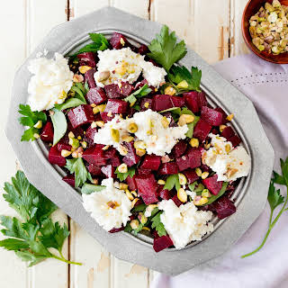 Marinated Beet Salad With Whipped Goat Cheese.