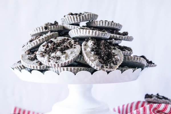 A Serving Tray Filled With Norma's Cookies And Cream Candies.