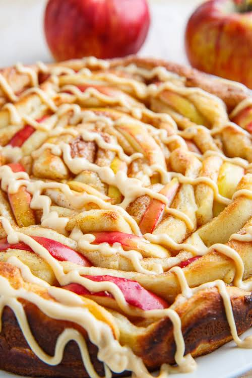 "Apple Cinnamon Spiral Bread with Caramel Cream Cheese Frosting""Moist, light and tender..."