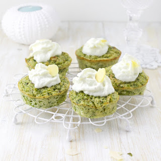 Savoury Broccoli-Almond Cupcakes with Goat Cheese frosting