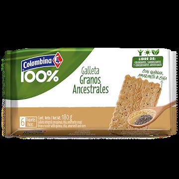 //GALLETAS COLOMBINA   100% CRAKINUA  ANCESTRALES AMARANTO PAQX180G.X6UND.