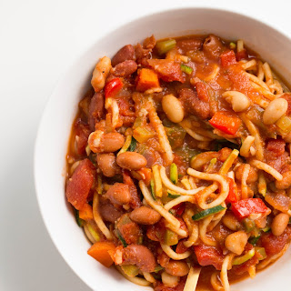 Easy Zucchini Noodle and Bean Chili.
