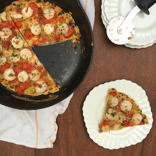 Socca Pizza with Shrimp and Leeks