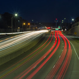 Evening Commute by Johnny Sandmeyer - City,  Street & Park  Night ( highway, speed, tracers, city lights, nightlife )