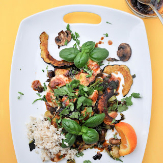 Sheet Pan Stir Fry with Brussels, Squash, + Orange Teriyaki Sauce Recipe