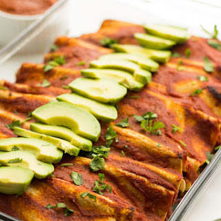Rice & Vegetable Enchiladas with Roasted Red Pepper Sauce