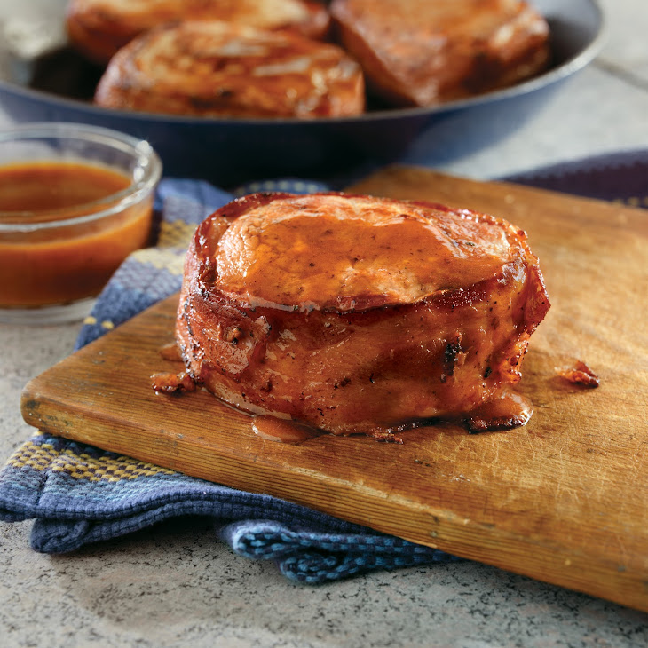 Bacon-Pork Chops with BBQ Glaze