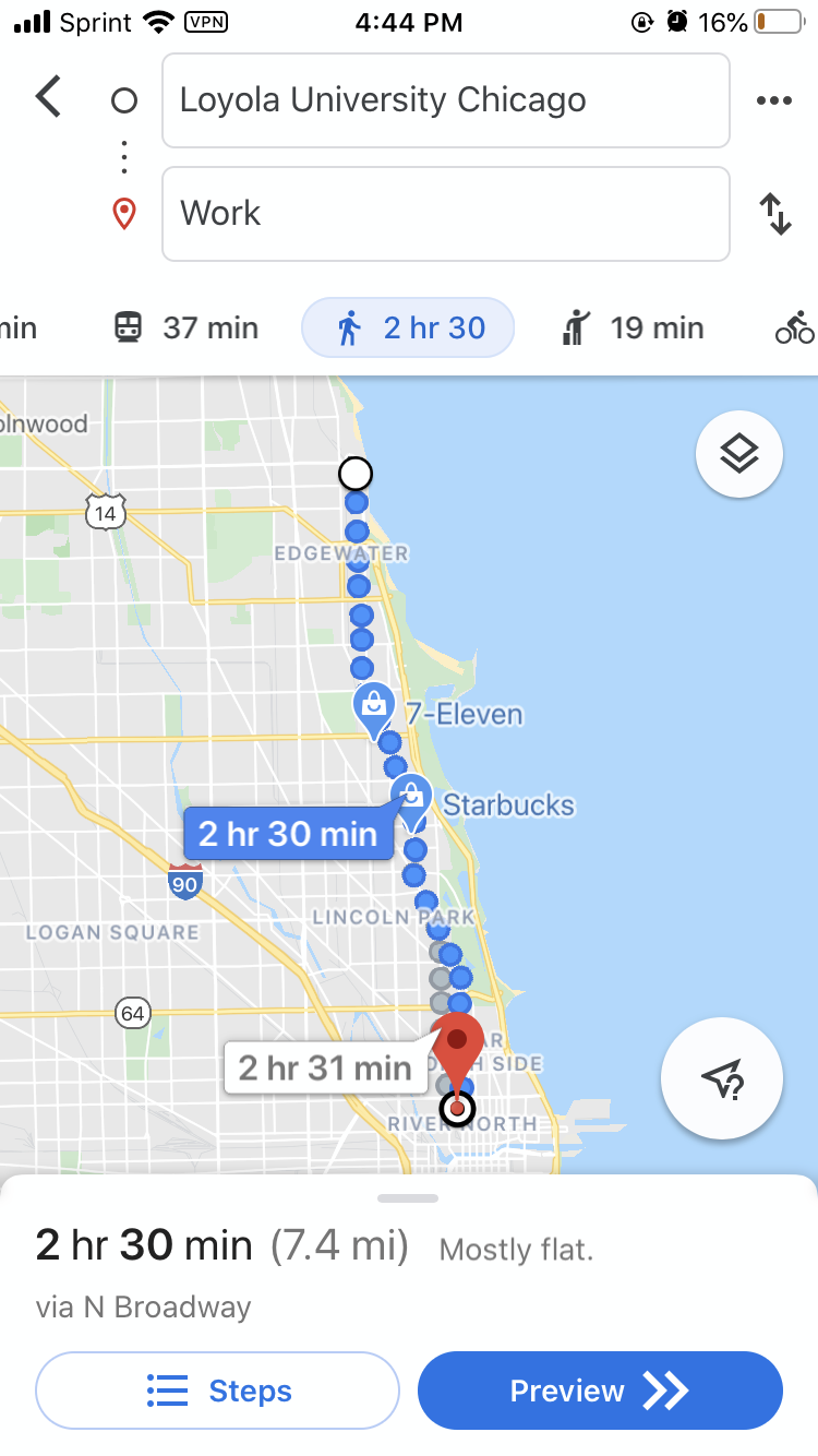 Screenshot of Google Maps direction page map view