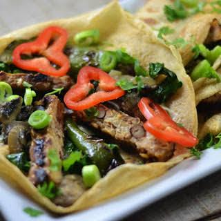 Grilled Tempeh and Mushroom Crêpes [Vegan, Gluten-Free].