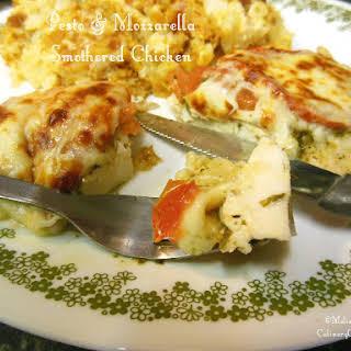 Pesto & Mozzarella Smothered Chicken.