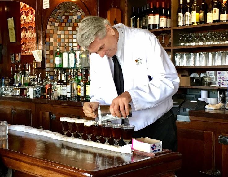 The master at work.  Adding the cream to Irish Coffee.