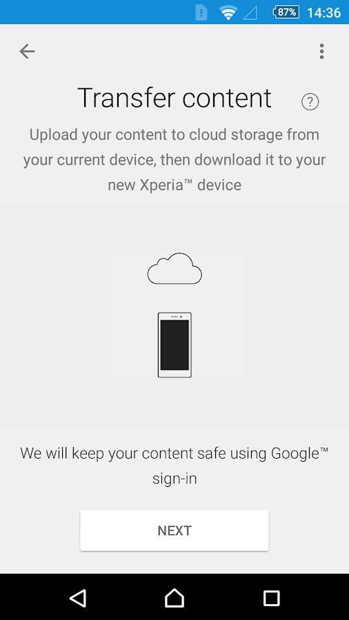 Xperia™ Transfer Mobile- screenshot