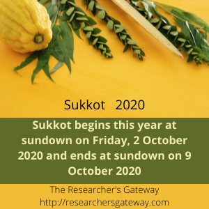 Sukkot 2020 is Sundown on Friday 2 October to Sundown Friday 9 Oer.ctob