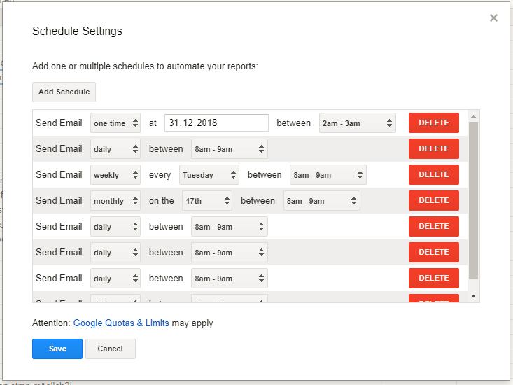 scheduling report sends for google analytics.