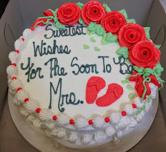 "Photo: Bridal Shower cake: ""Sweetest Wishes for the soon to be Mrs."" w/traditional border, grey writing & coral frosting roses & flip flops."